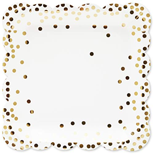 Blue Panda 48-Pack Square Disposable Paper Plates for Parties and Dinners, Gold, 9 Inches ()