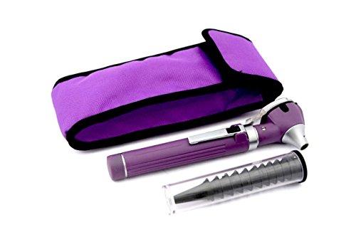 Otoscope - Compact Pocket Size Fiber ENT Optic Otoscope Purple Color (Otoscope Diagnostic Set)
