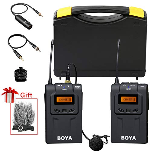 (BOYA 48-Channel UHF Professional Omni-Directional Wireless Lavalier Microphone System with Omni-Lav,Portable Transmitter and Receiver 3.5mm/XLR Outputs for Canon,Nikon,Sony,Camera,DSLR,Camcorder,Etc)