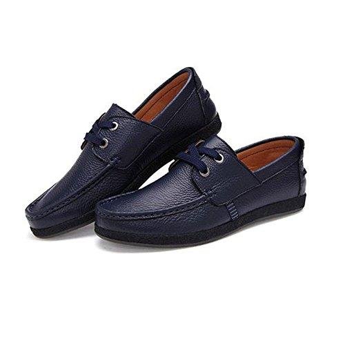 Cuero Azul Encaje Hombres Negocios Ante De Los Planos Zapatos ZYx8EE