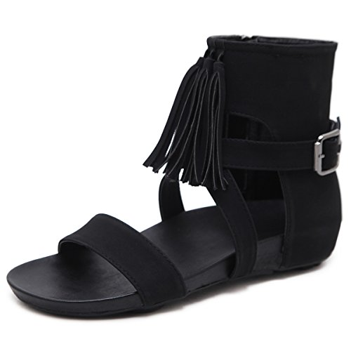 con Abierto Moda de Zapato Mujer Artificial PU Black Sandalias Borla Sandalias Plano tqFHxXOx