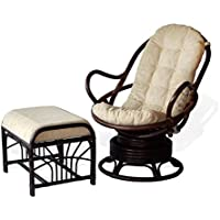 Java Swivel Rocking Chair Dark Brown White Cushion Handmade Natural Wicker Rattan Furniture With Ottoman Krit Dark Brown
