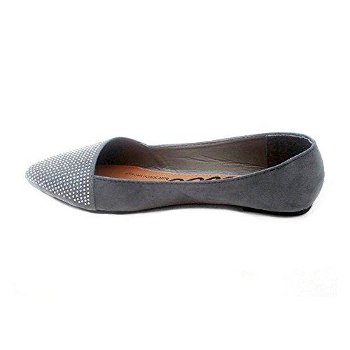 Flat Shoes Grey Atonce Black Ballerina Women's Blue xwTRBOw