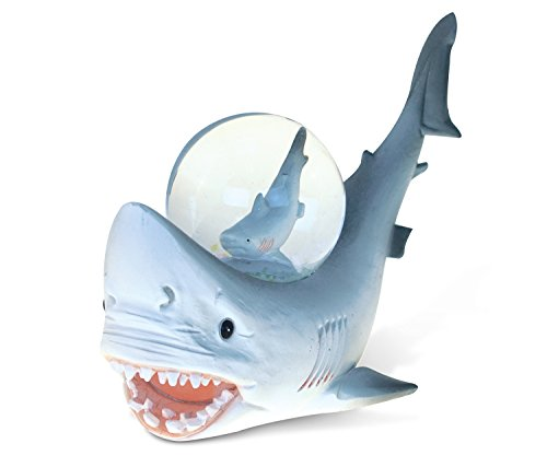 Puzzled Resin Great White Shark Snow Globe (45mm), Intricate & Meticulous Handcrafted Ocean Animal Sculpture Figurine Bedroom Living Work Tabletop Accent Marine Sea Wildlife Themed Home Décor - 5 inch