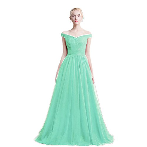 Aurora Evening Long Bridal Gowns Mint The Cocktail Women's Shoulder Ruched Off Tulle UO0Bw8qrxO