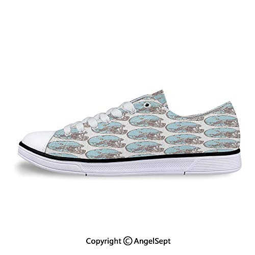 Unisex Canvas Shoes Rugby Helmets Vintage Pattern American Low-Top Sneakers