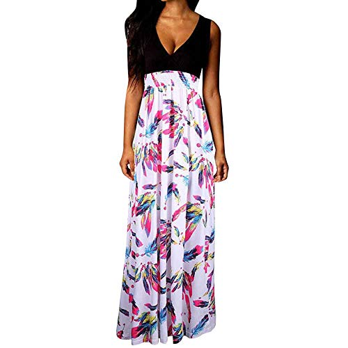 Maxi Dresses for Women Summer,Ladies Casual Boho Sleeveless V-Neck Beach Long Cocktail Party Floral Dress Plus Size
