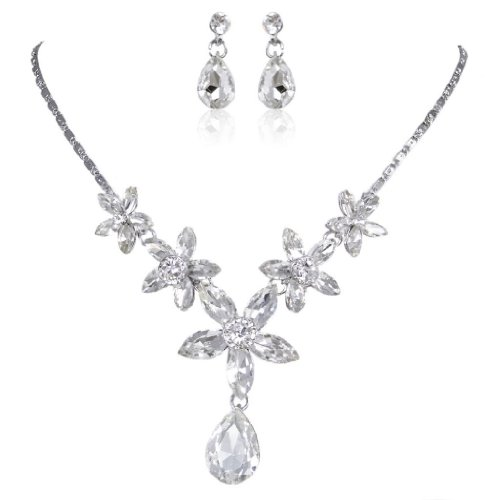 lver-Tone Daisy Flower Drop Clear Austrian Crystal Necklace Earring Set ()