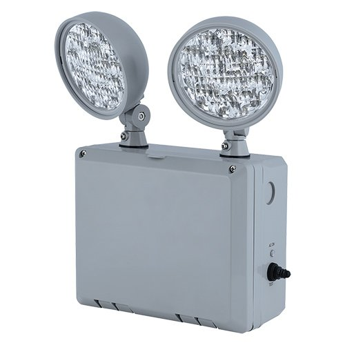 Compass CU2WG CU2W Series 2 Head Adjustable Wet Location LED Emergency Light with Grey (Hubbell Emergency Light)
