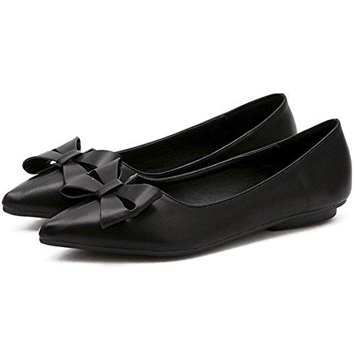Qzunique Womens Fermé Bout Pointu Solides Appartements Avec Bowknot Confortable Chaussures De Travail Noir