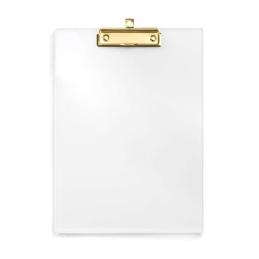 UNIQOOO Letter Size Thick Clear Acrylic Clipboard with Shinny Gold Finish Clip, Perfect for Modern Arts Lover, Fashion and Style Expert, Calligrapher, Office, Seminars, Workshops, Home School
