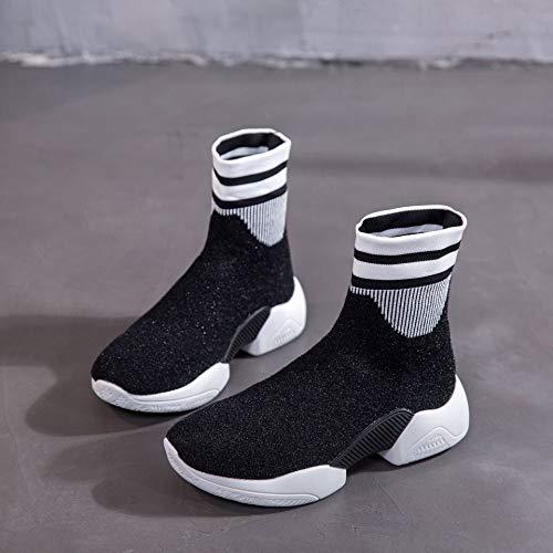 Señoras Deportivo Calcetines Botas Punto Botas otoño de Calcetines Deportivo de negro Calzado Calzado Lucdespo elásticos dBwCqC