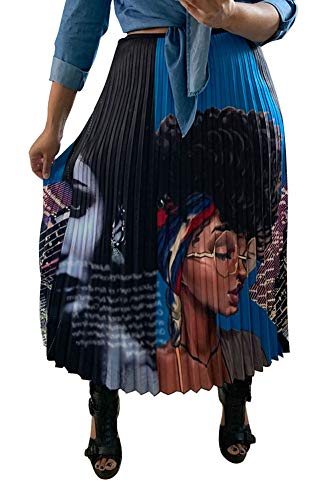 ThusFar Women's Cartoon Printed Midi Skirts Elastic Waist Pleated Club Skirts Blue XXXL ()