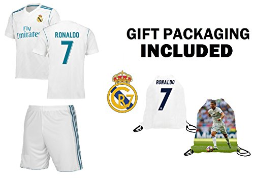 Real Madrid Home/Away / Third Kids Soccer Jersey Ronaldo #7 / Bale #11 Jersey Shorts 4 in 1 Multiple Gift Kit Youth Sizes YL YM YS (Youth Small 6 to ()