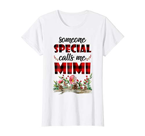 Womens Red Plaid Someone Special Calls Me Mimi Tshirt Grandma Gifts (Someone Calls Special)