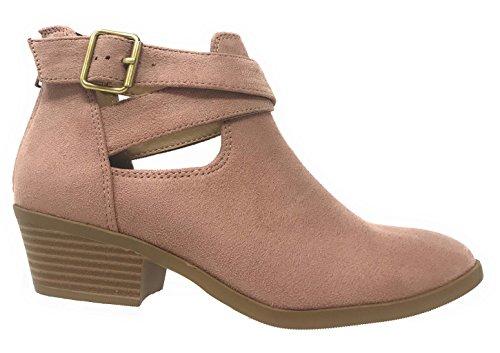 MVE Schuhe Cute Western Cowboy Bootie - Damen Spitzschuh Slip On Ankle Boot - Zurück Reißverschluss Low Heel Mau * m