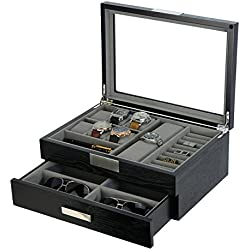 Modern Black wood Cufflink Case Ring and Jewelry Box
