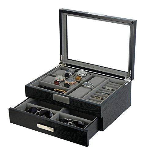 - DecoreBay Executive Unisex Black Wood Valet sunglasses and Jewelry Box Storage (Super Star)