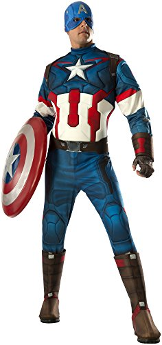 Captain America Avengers Costume Boots (Rubie's Men's Avengers 2 Age Of Ultron Adult Captain America, Multi, X-Large)