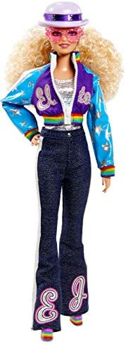 Elton John Barbie Collector Doll(12-inch, Curly Blonde Hair) in Bomber Jacket and Flared Denim, with Doll Sta