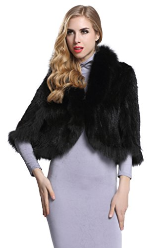 Topfur Women's Real Mink Fur Cape Shawl Stole Real Fur Trim Cappa with Fox Fur Collar(Black) by TOPFUR