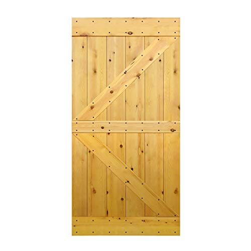 S&Z TOPHAND 42 in. x 84 in. Finished Varnish British Brace Knotty Pine Barn Door/Double Surfaces(42, Varnish)