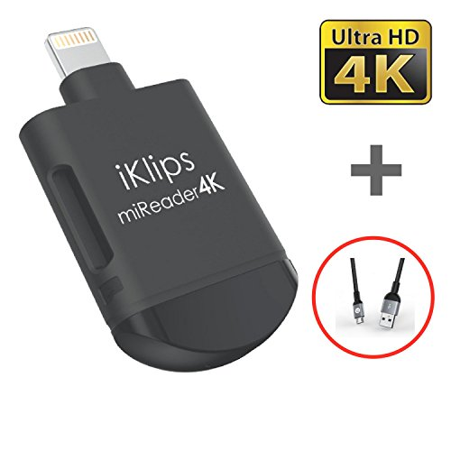 iKlips miReader Lightning / Micro USB 3 in 1 Portable MicroSD 4K Card Reader External Memory Storage Charger - Store, View, Edit, Record 4K Video From GoPro, Drones, Camera - Made for iPhone iPad iPod