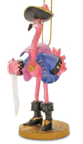 Tropical Pirate Girl Pink Flamingo Christmas Ornament (Pirate Christmas Ornament)