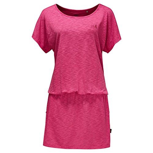 Vestido de viaje Jack Wolfskin para mujer, rosa tropical, talla X