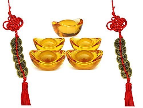 Wenmily Feng Shui Yellow Crytal Golden Ingot 5 Pcs + Set of 5 Lucky Charm Ancient Coins