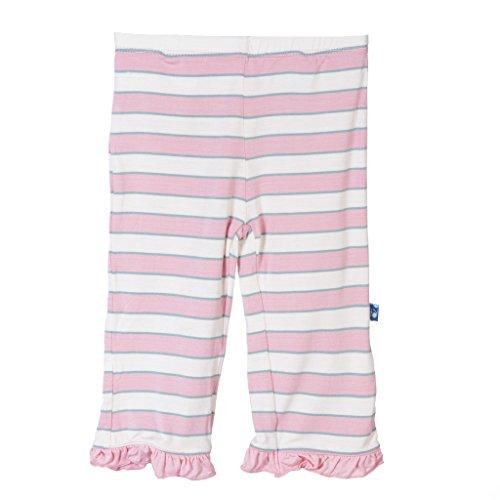 KicKee Pants Little Girls Print Ruffle Pant, Girl Musical Stripe, Girls 6 (Snap Velour Pocket Pant)