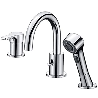 Bathroom Faucet 3 Hole Chrome Crea Widespread Bathtub Vanity Lavatory Faucet with Pull Out Shower Head