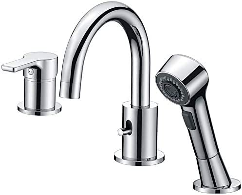 Bathroom Faucet, Crea cUPC Certified 3 Hole Widespread Bathtub Vanity Lavatory Faucet with Pull Out Shower Head, Chrome