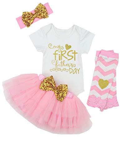 My 1st Fathers Day Baby Girl Outfit Letter Print Rompers+Tutu Dresses Shorts+Leggings+Headband 4PCS Skirt Set 6-9 Months Pink
