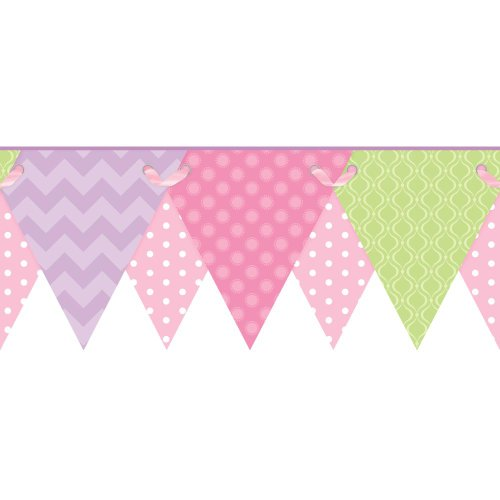 Soft Pink Bubbles (York Wallcoverings KS2287BD Cool Kids Geometric Pennant Border, Soft Blush Pink/Bubblegum Pink/Pistachio/Lilac/Lavender/Snow)