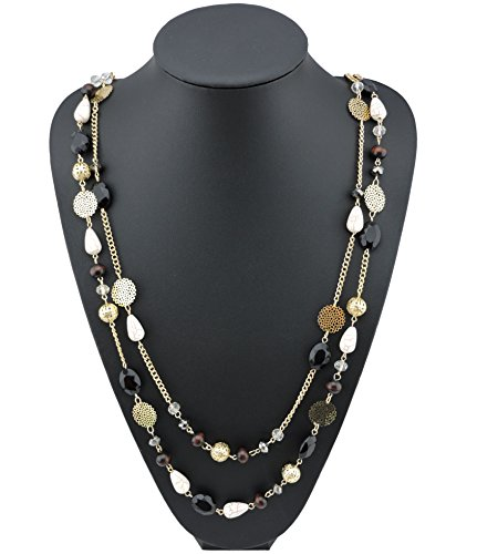 UPC 608803377000, BOCAR 14K Gold Plated Link Chain 2 Layer Crystal Wood Acrylic Colorful Women Party Long Necklace Gift (10084-black)