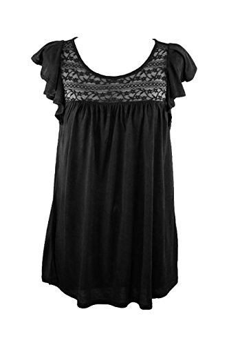 Cap Sleeve Top W/ Sheer Lace Yoke Black S (S9076) (Flutter Cap Sleeve Tunic Top)