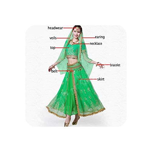 Women Indian Belly Dance Costume Set Dance Performance Bellydance,Green-8Pcs,XL -
