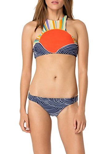 NonEcho Women's Racerback Swimsuit Japanese Sunrise Bathing Suit for Young Girls, two piece, Large
