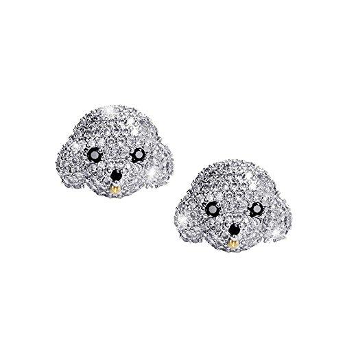 MISASHA Cute Bichon Frise Dog Rhinestone CZ Transparent Clear Earrings For Women (Ring Silver Bulldog Sterling)