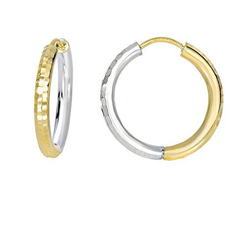 Aleksa Ladies 14K White & Yellow Gold Two Tone Reversible Diamond Cut Classic Hinched Tube Hoop - Earrings Tube Dangle 14k