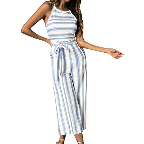 Wobuoke Fashion Women Ladies Sleeveless Multicolor Striped Clubwear Wide Leg Pants Outfit Jumpsuit Blue