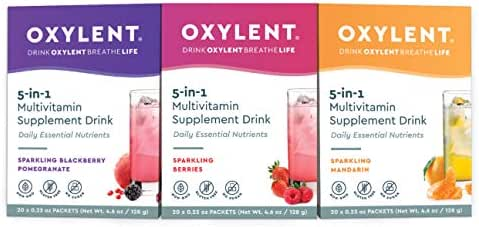 Oxylent 5-in-1 Multivitamin Supplement Drink - Sugar-Free & Effervescent for Easy Absorption of Vitamins, Minerals, Electrolytes, Antioxidants, Variety Pack, 60 Count