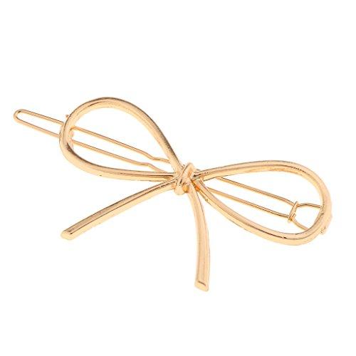 MagiDeal European Style Simple Ladies Metal Hair Clip Hairpin Geometric Barrettes Fashion Headwear Accessories - Bow Gold