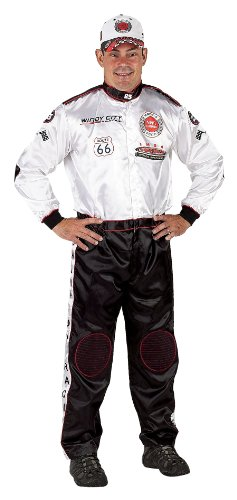 Racing Costumes Nascar Halloween (Aeromax Adult Champion Racing Suit, Black and White (Adult)
