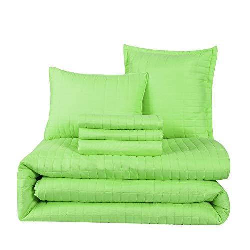 HONEYMOON HOME FASHIONS Queen Comforter Set 6 Piece, 1 x Comforter, 1 x Bedskirt, 2 x Shams and 2 x Decorative Pillows, Lime Green ()
