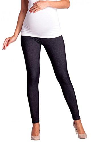 Zeta Ville - Premamá leggings efecto mezclilla banda para barriga - mujer - 948c Jeans & Negro