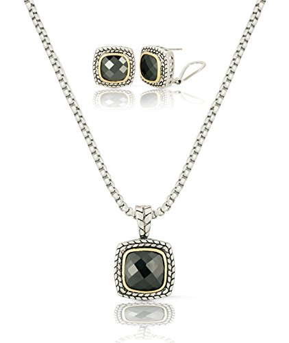 JanKuo Jewelry Two Tone Vintage Black Jet Color CZ Pendant Earrings Necklace Set, 18
