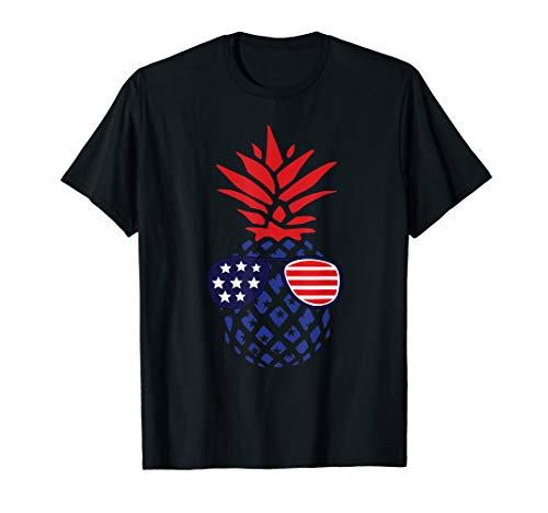 Hawaiian Pineapple American Flag Sunglasses 4th of July Gift T-Shirt