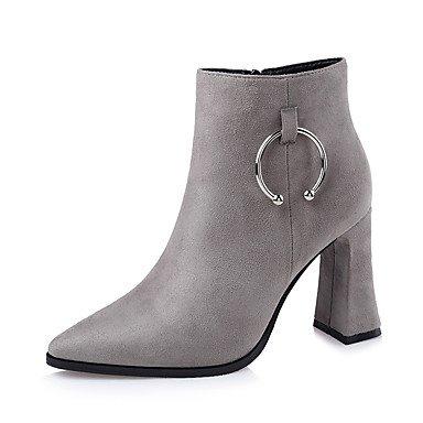 RTRY Zapatos De Mujer Polipiel Moda Invierno Botas Botas Chunky Talón Señaló Toe Hebilla Para Vestido Negro Gris De Almendra US6.5-7 / EU37 / UK4.5-5 / CN37